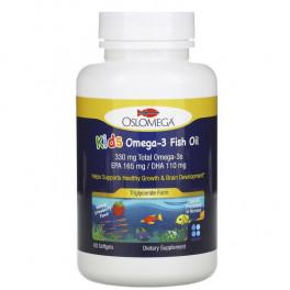 Oslomega Kids Omega 3 Fish oil клубничный вкус (ЭПК165/ДГК110) 60 капс